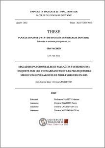 Maladies parodontales et maladies systémiques : enquête sur les ...